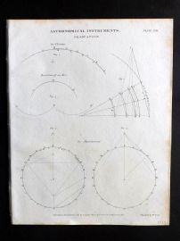 Rees 1820 Antique Print. Astronomical Instruments 21 Graduation